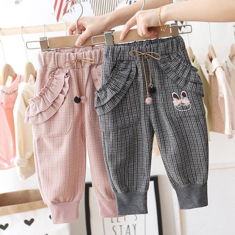 Baby Girls Bow Casual Pants New Children Sweet Lace Cartoon Princess Trousers Kids Elastic Waist Cotton Twill Sanicebeen