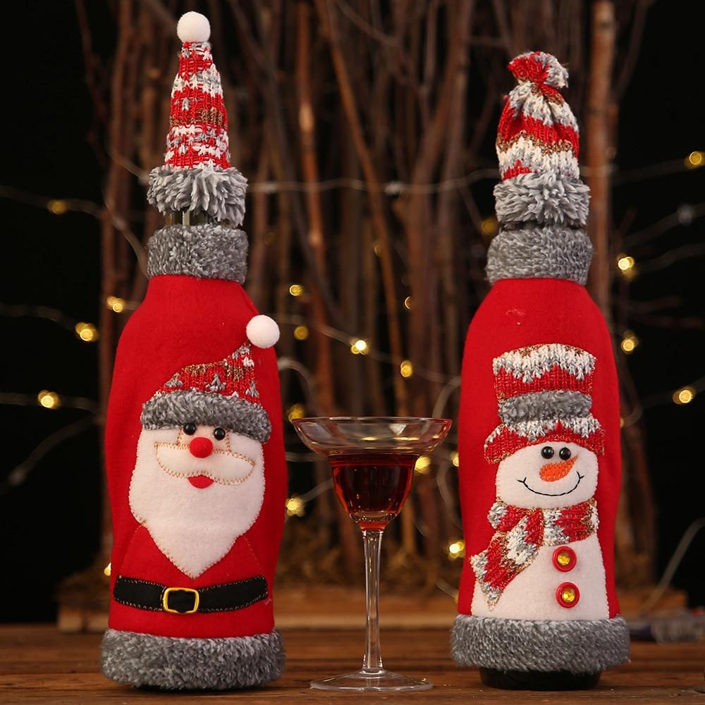 Christmas Cover Wine Bottle Santa Snowman Party Ornament Christmas Table Decoration