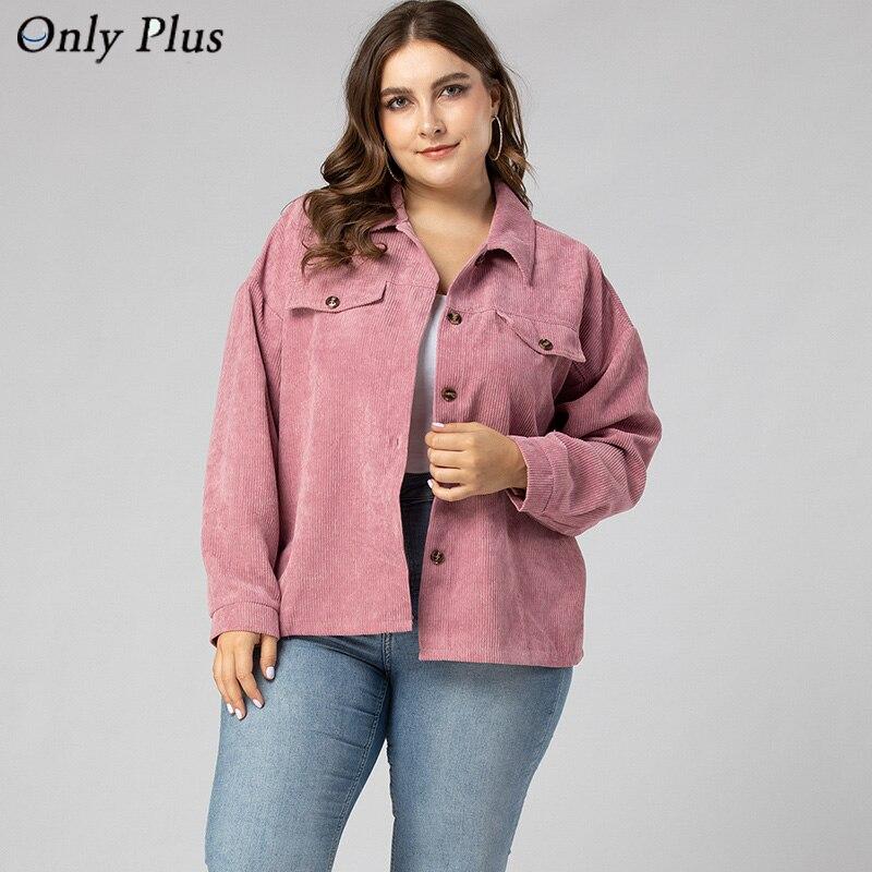 Sólo más chaqueta de pana corta para mujer Otoño Invierno prendas de vestir de talla grande abrigos femeninos grandes chaquetas casuales sólidas Vintage
