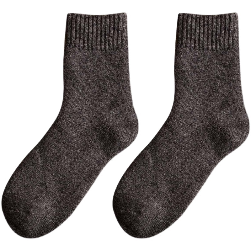 Thick Socks Men's Winter Purified Cotton Mid-Calf Length Socks Fleece-Lined Thick Terry Socks Wool S