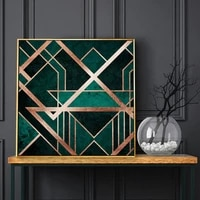 wall art poster abstract golden black green geometric line square pictures print for corridor hotel decor canvas painting mural