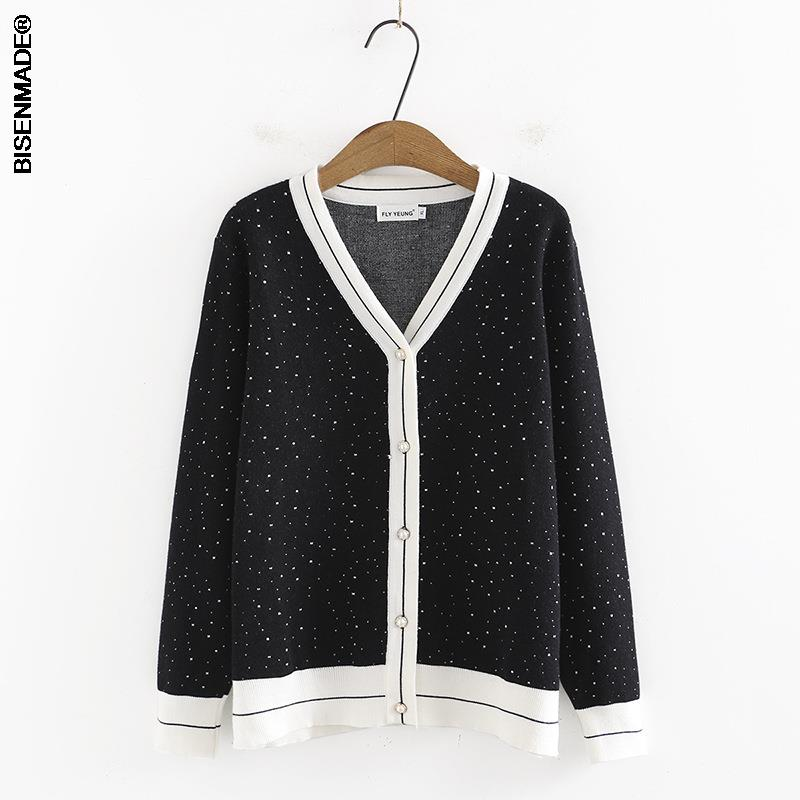 2021 Autumn Winter Women Cardigan Plus Size&Curve Clothes New Jumper Fashion Little Bright Temperament V-Neck Knitted Sweater