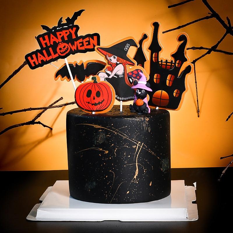 Мультфильм Хэллоуин торт Топпер Дерево дом с привидениями череп Тыква кекс украшение Хэллоуин тема выпечки вечерние сувениры