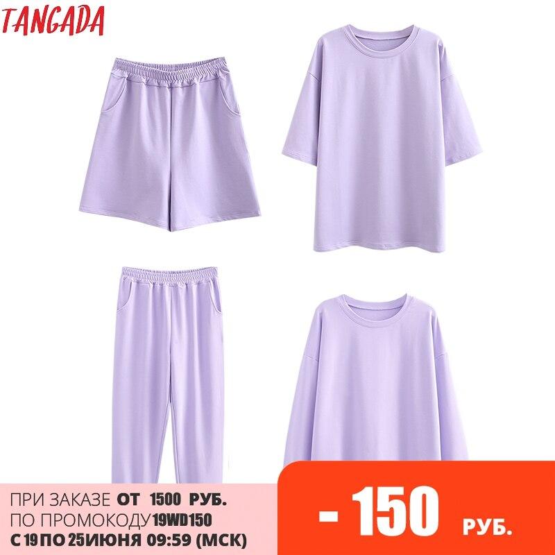 Tangada 2021 Autumn Women Terry 95% cotton sweatshirt suit oversized sets o neck hoodies sweatshirt suits 6L30
