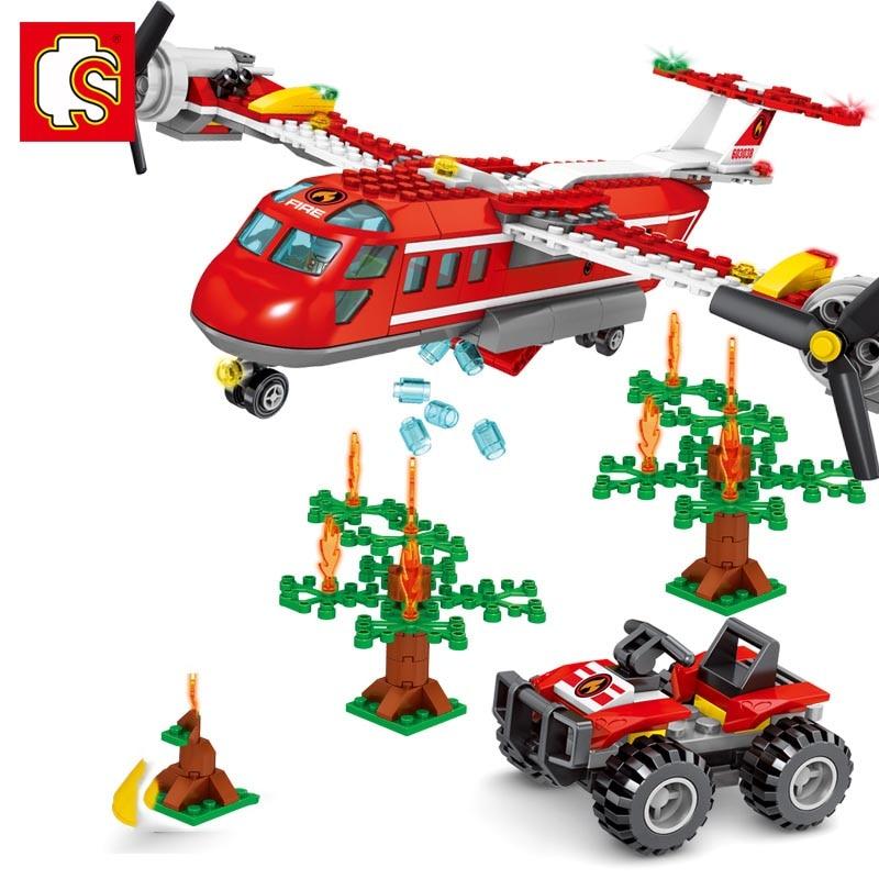 Блоки Sembo City series пожарный самолет строительные блоки детские сборные игрушки мини набор детские подарки для мальчиков своими руками