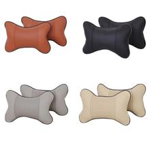 1PC Vehicle PVC Leather Breathable Travel Head Neck Rest Headrest Support Cushion Pillow Neck Pillow