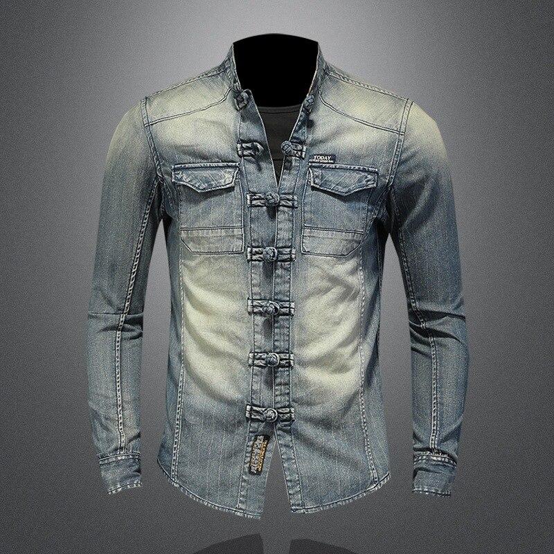 رجل الدينيم شيونغسام المشبك القمصان الوقوف طوق كم طويل أزرار عادية الجبهة قميص F1