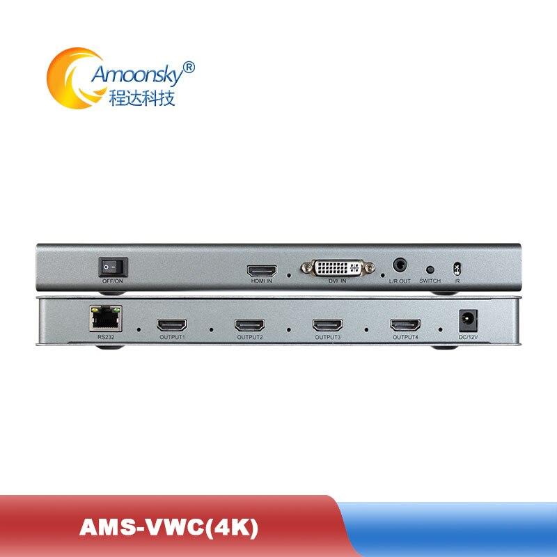 VWC4 4K 4 قناة التلفزيون وحدة تحكم الفيديو الجدارية 2x2 1x3 1x2 1x4 3x1 Lcd معالج الفيديو 4K 60Hz جدار التلفزيون الربط الشاشة