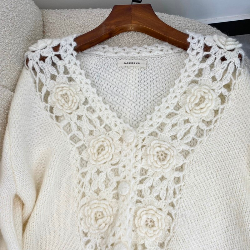 Autumn Women Fashion Beige Hook Flower Hollow Out See Through V-neck Single Breasted Long Sleeve Warm Mohair Sweaters enlarge
