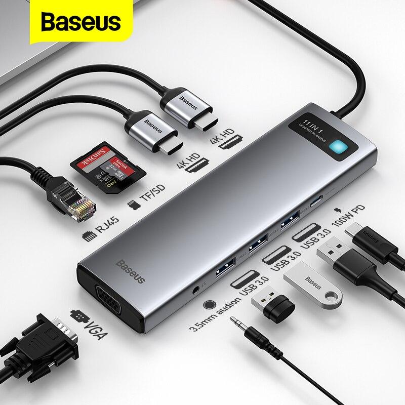 Baseus-موصل USB C إلى متعدد HDMI ، متوافق مع قارئ بطاقة 3.0 RJ45 ، مقسم USB لجهاز MacBook Pro Air HUB