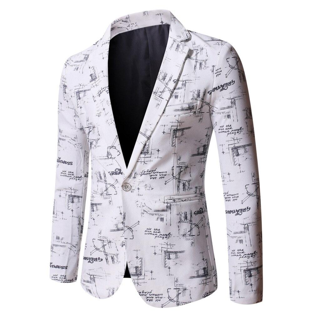 С принтом пиджак для мужчин в Корейском стиле, модная уличная мужская повседневная одежда куртка мужской стройнящий пиджак/мужской деловой...