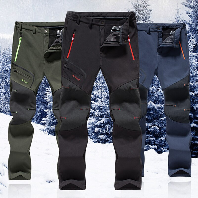 Winter Men Women Hiking Pants Outdoor Softshell Trousers Waterproof Windproof Trekking Cycling Fishing Skiing Fleece Pants