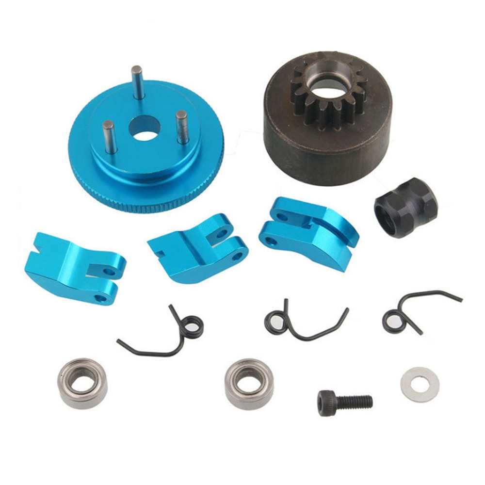 Clutch Bell Shoes Bearing 14T Gear Flywheel Assembly Kit Set Springs Cone Engine Nut for 1/8 RC Car HPI HSP Traxxas Axial H enlarge