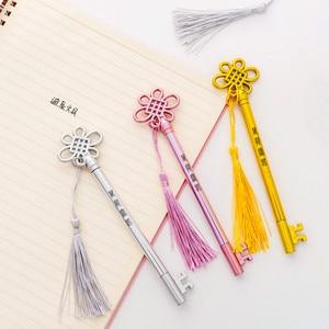 20PCS Creative Cool The Key Pen-Style Palace Style Tassels Pendant Gel Pen Students Office Kawaii School Supplies Stationery