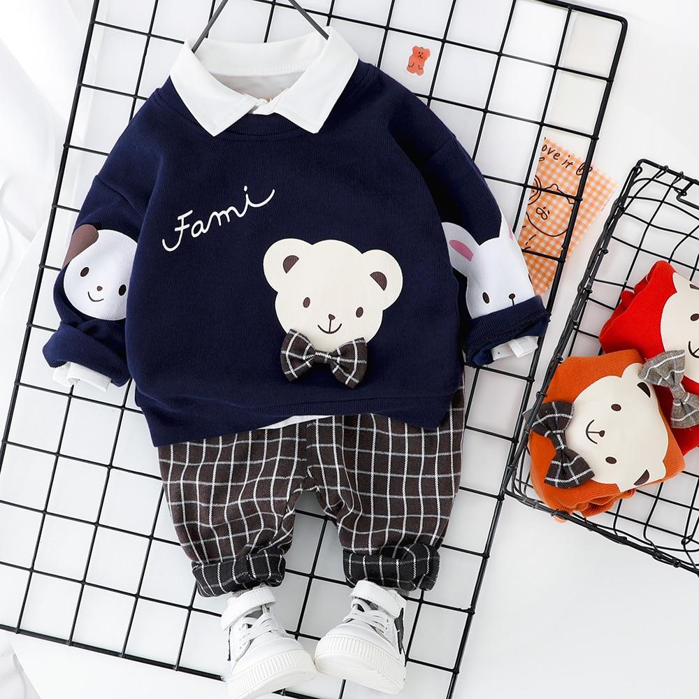 Primavera otoño niños ropa de moda bebés niños niñas dibujos animados oso camiseta pantalones 2 unids/set niños conjunto infantil chándal