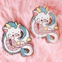 kawaii haku dragon hard enamel pin cartoon anime movie spirited aways medal jewelry fashion pastel animal lapel backpack pins