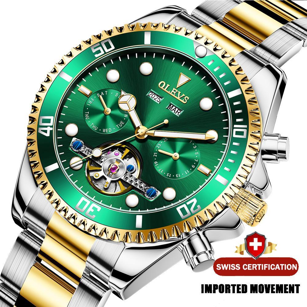 OLEVS الرجال الميكانيكية ساعة الفولاذ المقاوم للصدأ التلقائي ساعة فاخرة مقاوم للماء الرياضة الرجال ساعة هدايا للرجال