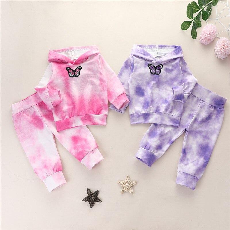 2021 inverno roupas da menina do bebê conjunto para crianças casual tie dye hoodies moletom + pnats 2 pçs crianças meninas agasalho 0-4y