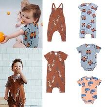 CarlijnQ 2020 yenidoğan bebek tulum yaz giyim güzel karikatür desen tasarım bebek kız tulum yürümeye başlayan bebek Onesie kostüm