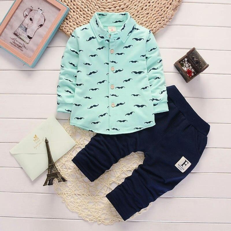2018 nueva ropa para niños traje de Camisa de algodón para niños barba Casual impresión de una fila de pantalones de manga larga