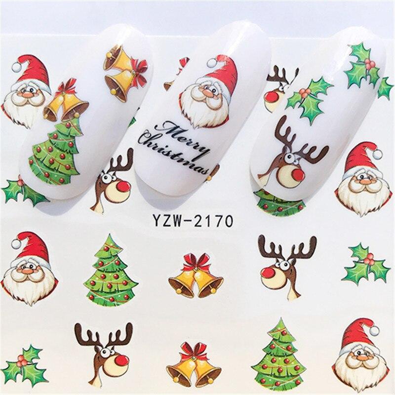 Новинка 2020, зимние рождественские Слайдеры для ногтей, наклейки для дизайна ногтей, сделай сам, аксессуары для маникюра, Водные Переводные фольга, Рождественский подарок