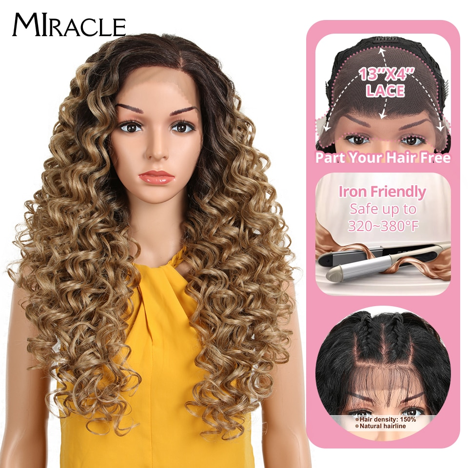 Miracle Synthetic Lace Front Fiber Future Premium Ombre Blonde Lace Front Wigs 26Inch Baby Wave Lace Front Wig For Black Women
