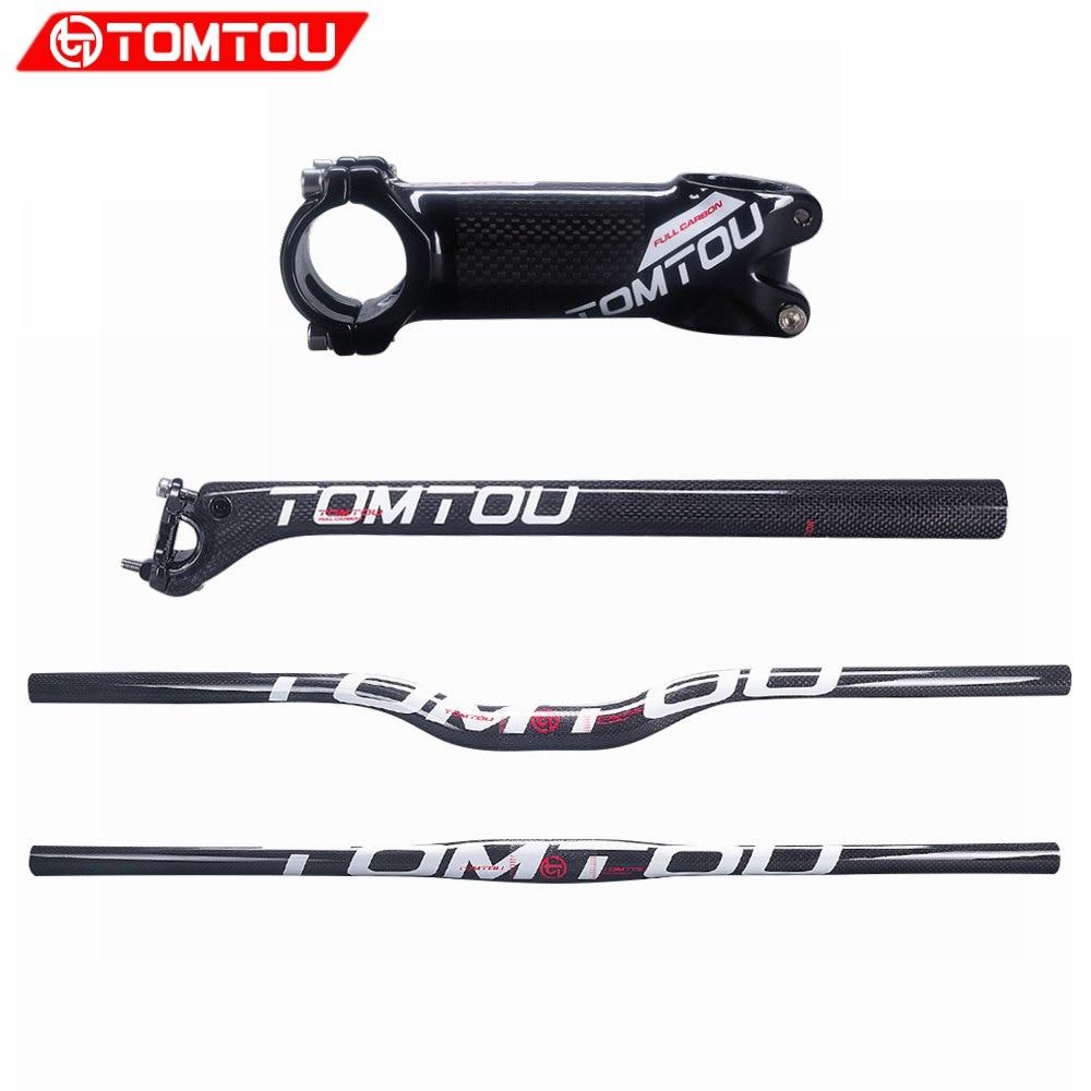Juego de manillar de carbono para bicicleta de montaña TOMTOU, blanco brillante, 3K, manillar de bicicleta de montaña + vástago + poste de asiento (Offset 20mm ) - TS0T63