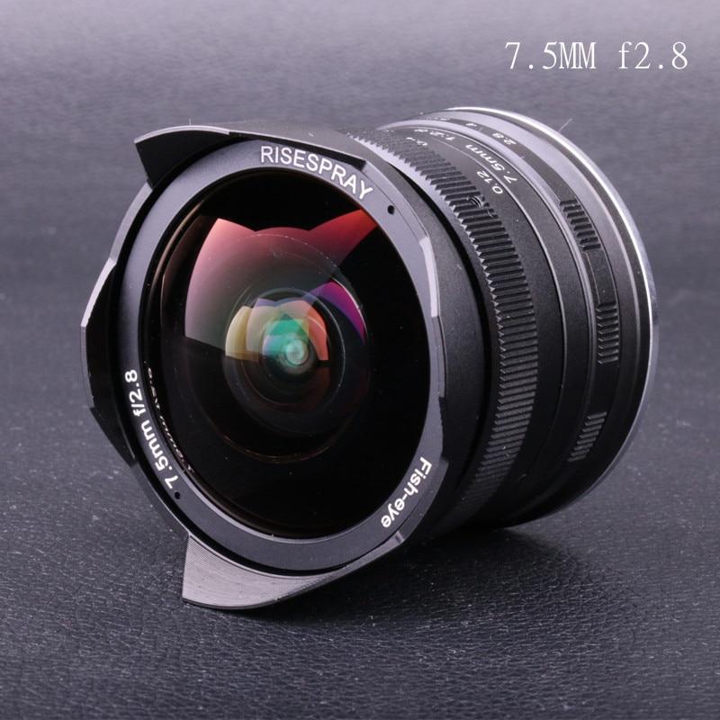 RISESPRAY 7,5mm f2.8 lente de ojo de pez 180 APS-C lente fija Manual para Olympus Panasonic Micro 4/3 M4/3 montaje E-M1 E-M1Mark II E-M5