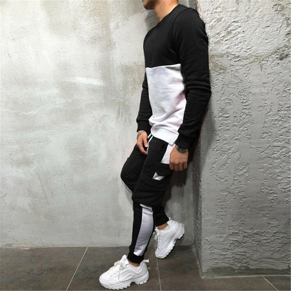 Мужской спортивный костюм из 2 предметов, повседневные штаны, свитер, спортивный костюм, свитшот, спортивный комплект