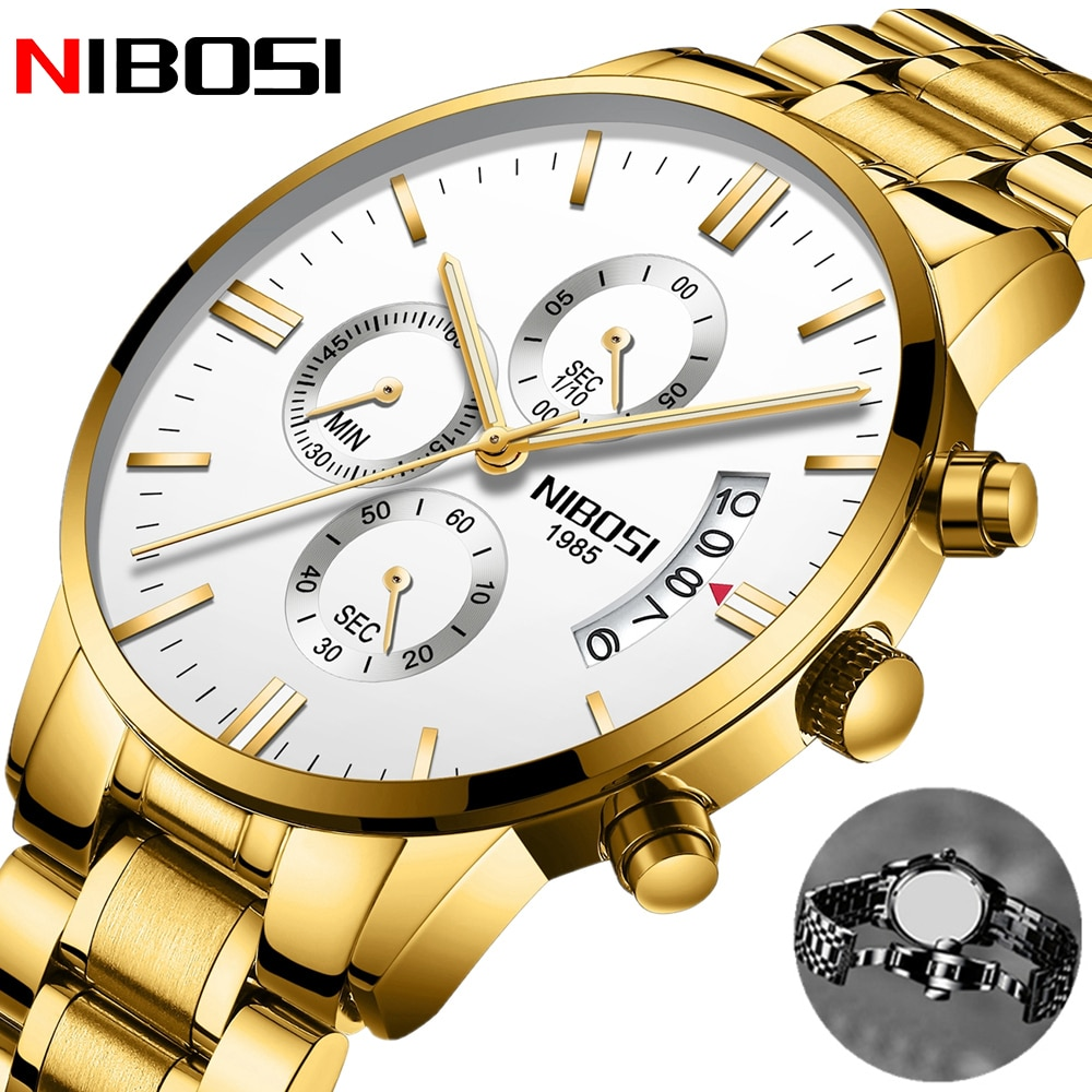 NIBOSI New Fashion Mens Watch Stainless Steel Top Brand Luxury Lover Watches Chronograph Women Quartz Watches Reloj Hombre