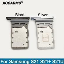 Aocarmo For Samsung Galaxy S21 Ultra S21+ S21U S21 Plus Dual SIM Card Sim Tray Card Slot Holder