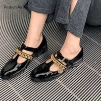 2021 new young ladies genuine leather black mary jane women casual shoes shining retro t strap preppy metal buckle chunky heels
