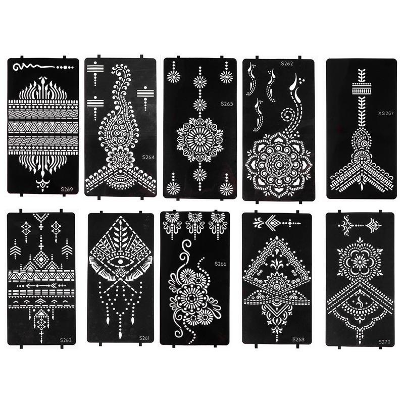 10 hojas plantilla para tatuajes calado seguro tatuaje de moda plantillas para el hogar mujeres