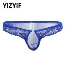 Men Lingerie sexy gay underwear Lace Mesh Bikini thongs Underwear Men Briefs with Penis Hole jockstrap underwear Sissy panties