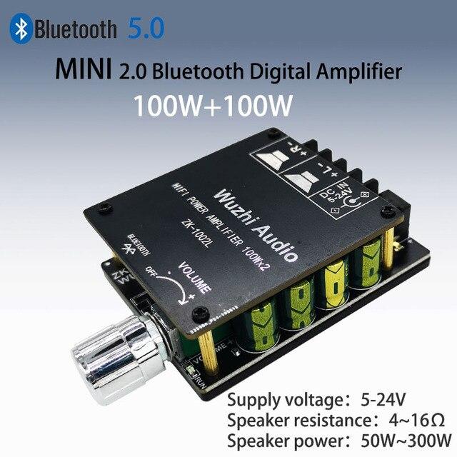 ZK 1002L 1002 100WX2 TPA3116 Мини Bluetooth 5,0 Беспроводной аудио Мощность цифровой усилитель доска стерео ампер постоянного тока 12V 24V