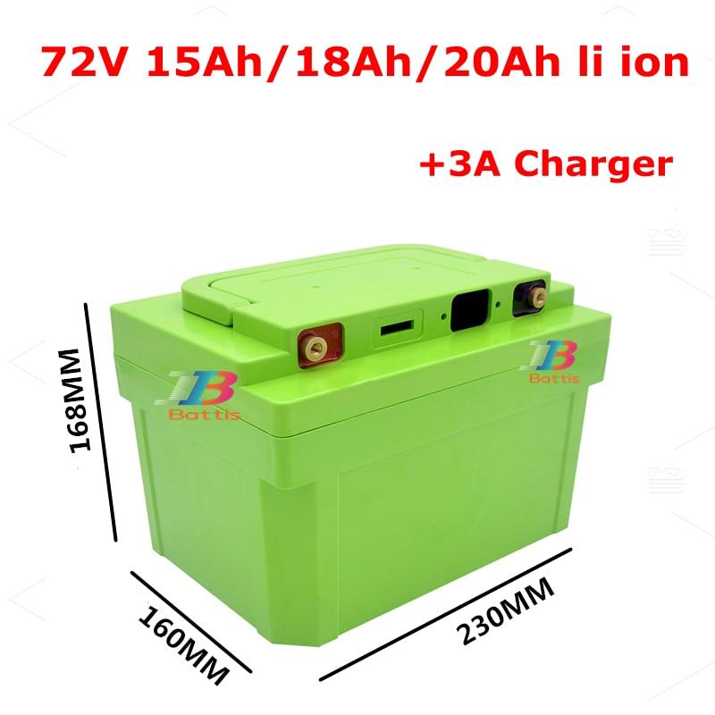 72v 20ah 18AH lithium ion 72V 15AH batterie li ion 18650 BMS pour 72V 2000W scooter e-bike moto AGV + 3A chargeur