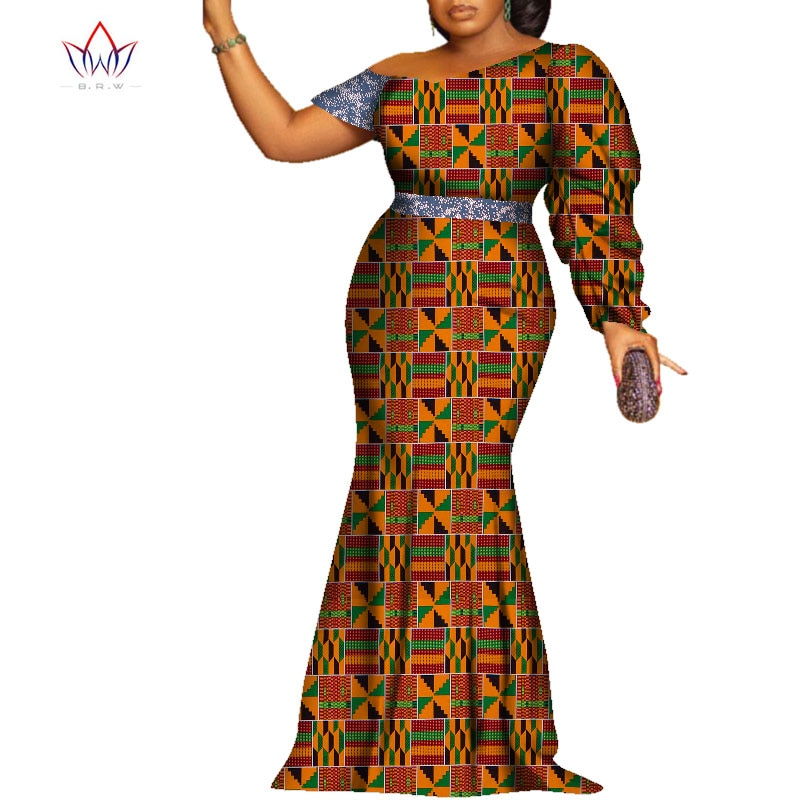 Bazin Riche African Print Elegant Evening Long Dresses Dashiki African Dresses for Women African Clothes Women Dresses WY7197