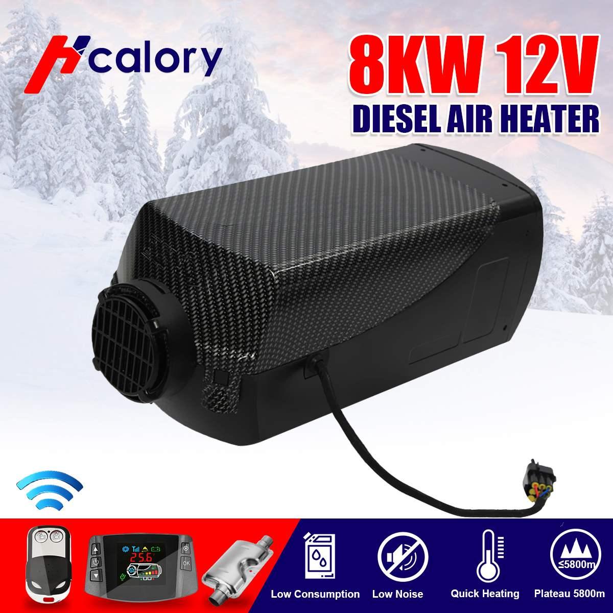 Tanque de calentador de aire 12V 8kW 2x ventilación, conducto, calentador de termostato para autocaravana con pantalla LCD Digital remota para barco casa rodante