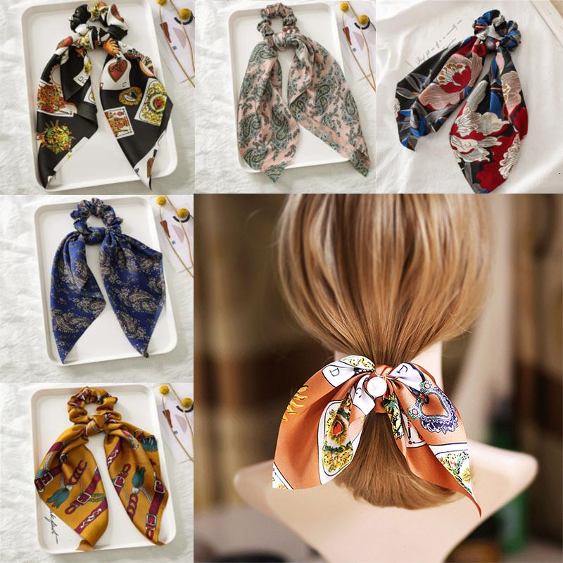 Diadema elástica de seda con estampado Floral a la moda para mujer, pañuelo para el pelo, lazos de goma, lazos para el pelo para niñas, accesorio para el cabello