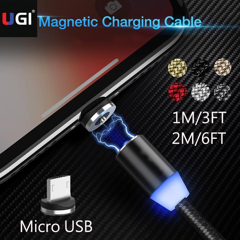 UGI-Cables magnéticos giratorios de carga rápida, Cable Micro USB de 360 °,...
