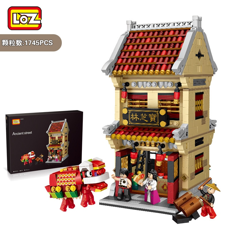 LOZ Blocks Big size Chinese Style Building Bricks Toy Blocks City Ancient Street Chinatown Teahouse Kids toys Children Gift 1023