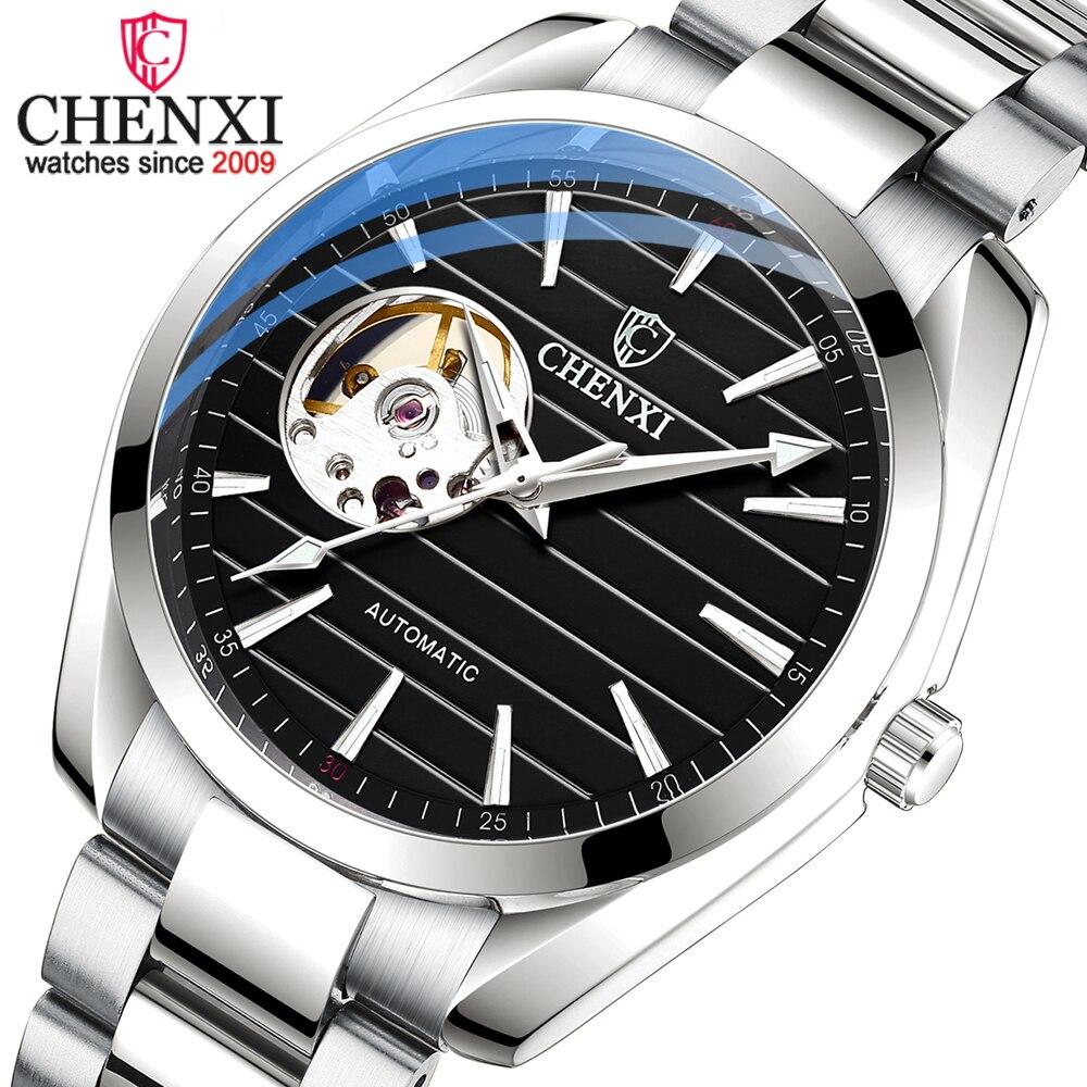 CHENXI-ساعة يد ميكانيكية فاخرة للرجال ، ساعة أوتوماتيكية من زجاج الياقوت ، مقاومة للماء ، للرجال