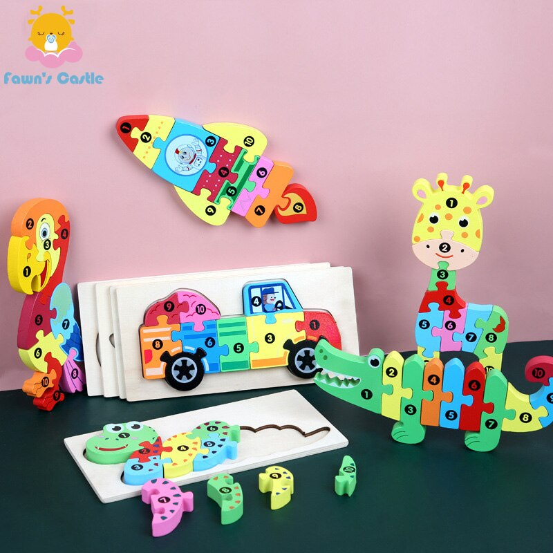logwood baby wooden toys wooden block 26pcs learning educational toys for children animal words letter learn gifts for baby 3d Puzzle Baby Wooden Toy Baby Puzzle Learning Educational Montessori Toys for Children Gifts
