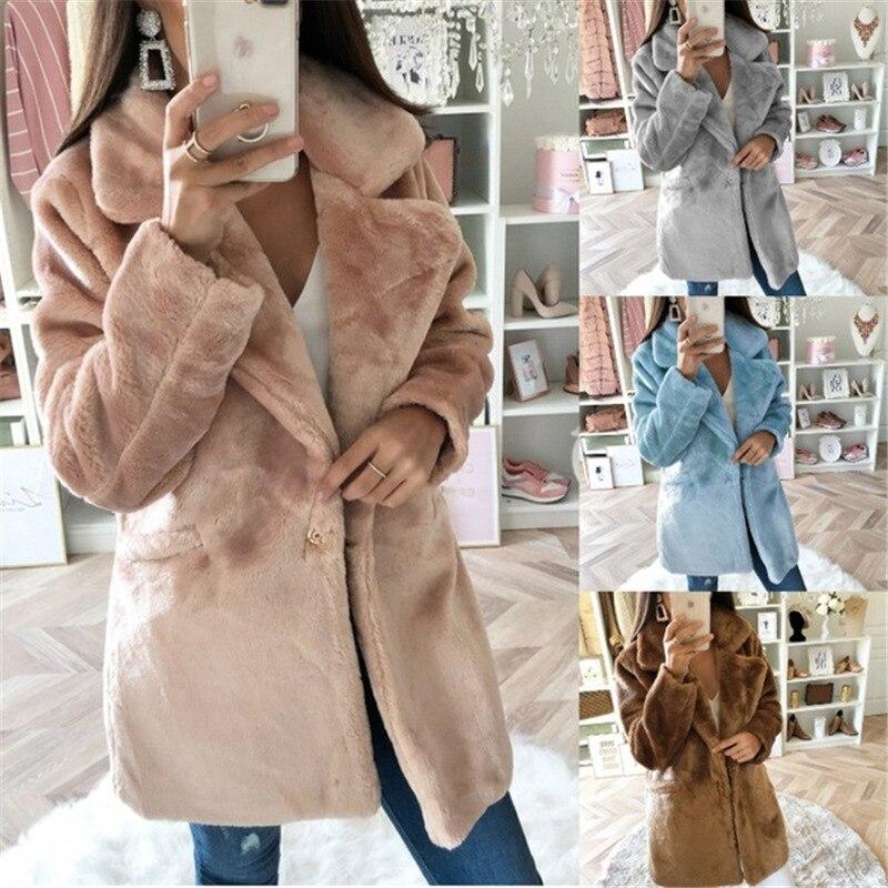 Nuevo abrigo de peluche abrigo largo de piel sintética Mujer abrigo de piel de oveja