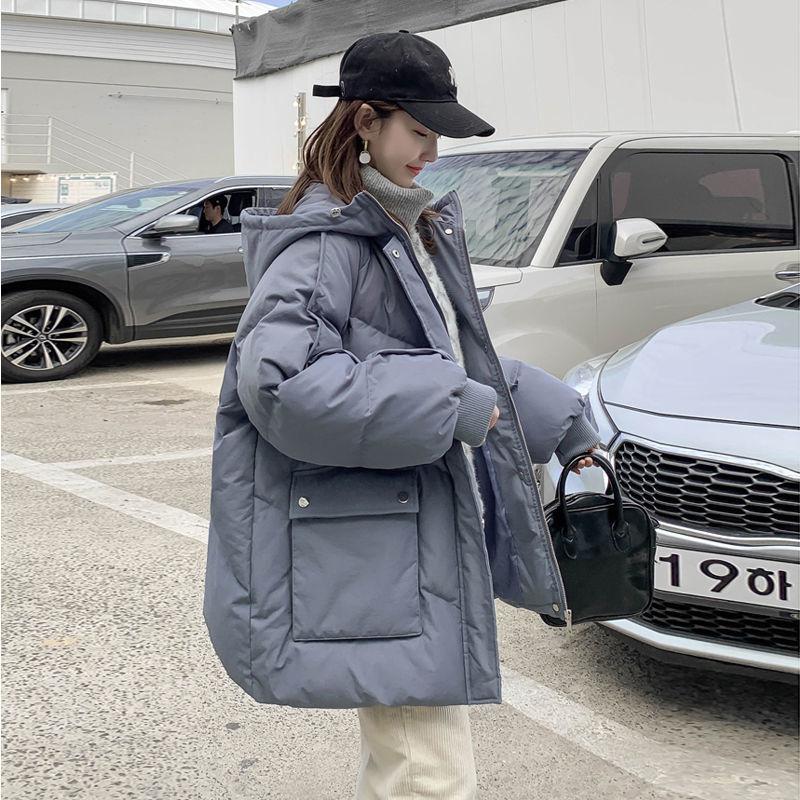 Женский короткий пуховик с подкладкой, синий пуховик свободного покроя в стиле бойфренд Харадзюку, Студенческая стеганая куртка