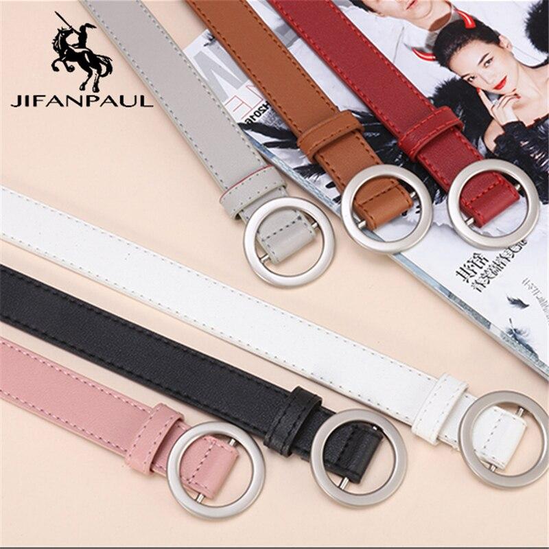 JIFANPAUL ladies simple versatile belt ladies pure leather fashion punk round pin buckle decorative