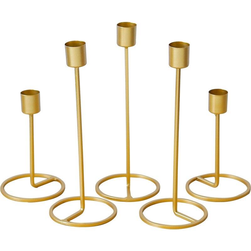 Bougeoir-decoración europea de oro para fiestas, accesorios sencillos para desenredar bodas, adornos...