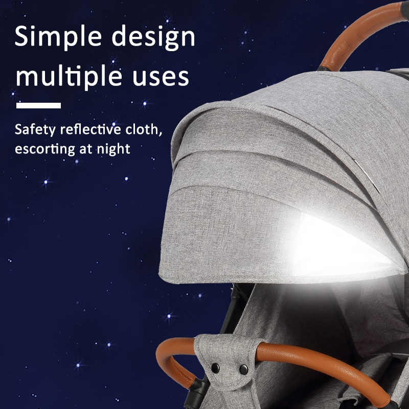Dearest Pro Portable Travel Stroller With Reflective Strips And Breathable Sunroof enlarge