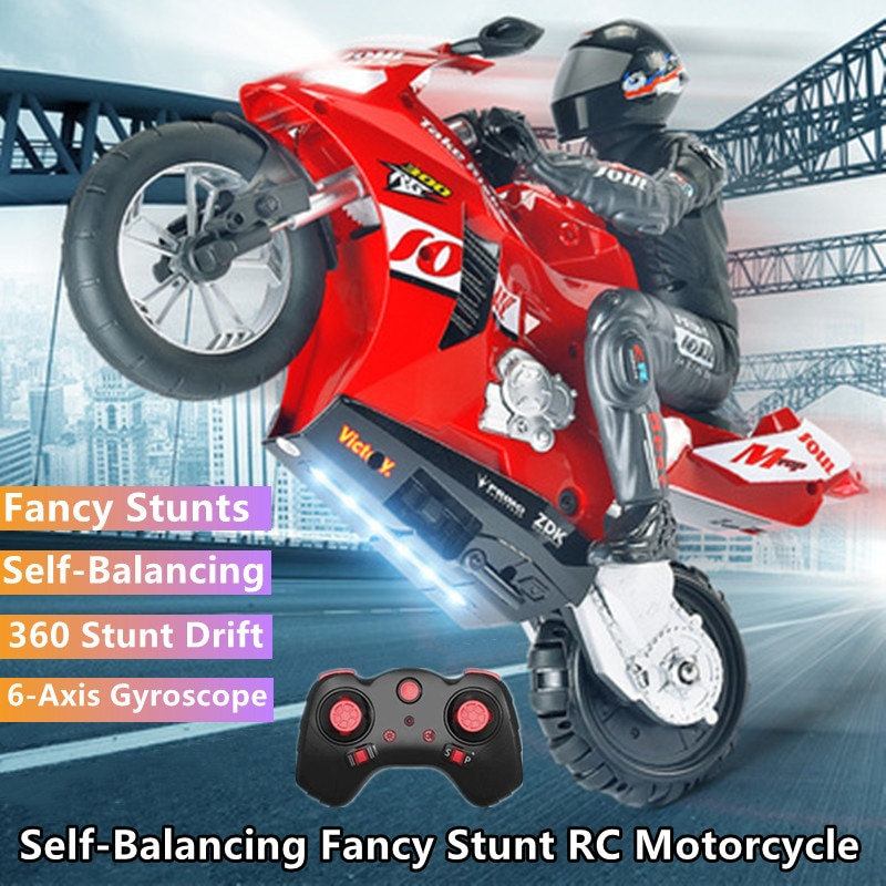 8CH Self-stabilizing Balance Drift Racing RC Motorcycle 60Mins Stunt Single-wheel Standing 360° Rotation RC Toy Model With Light