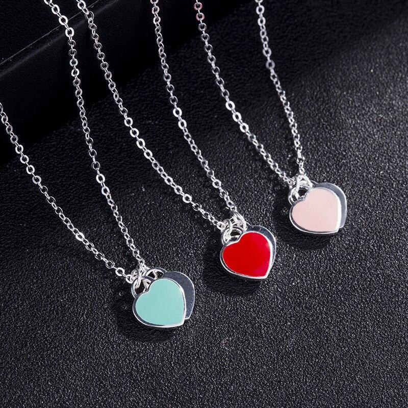 Colar de pingente de coração duplo puro s925 prata esterlina jóias charme design da marca colares para o logotipo feminino moda jóias